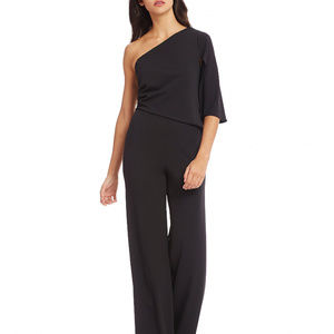 Adrianna Papell one shoulder crepe black jumpsuit